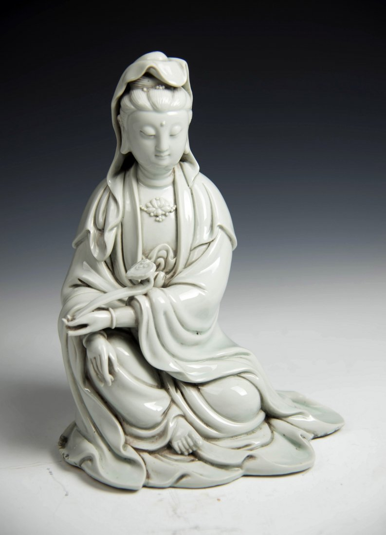 Chinese BLANCE-DE Chinese Seated Figure of Guanyin - 2