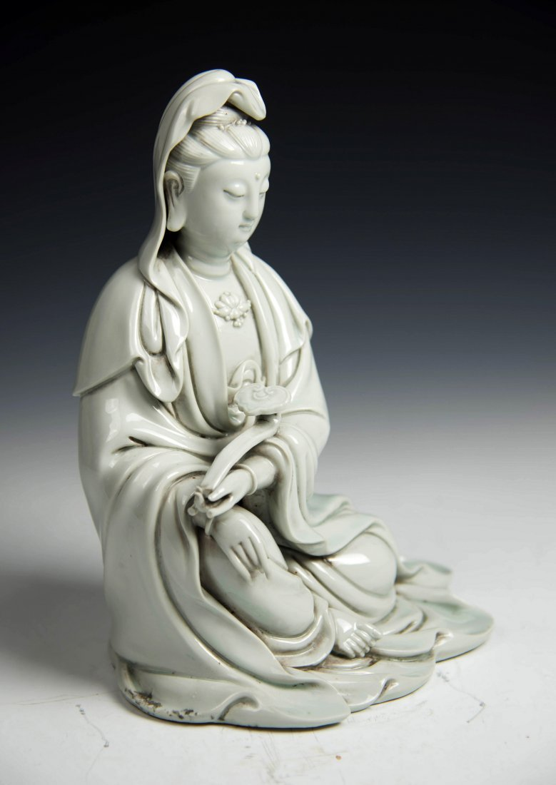 Chinese BLANCE-DE Chinese Seated Figure of Guanyin - 3