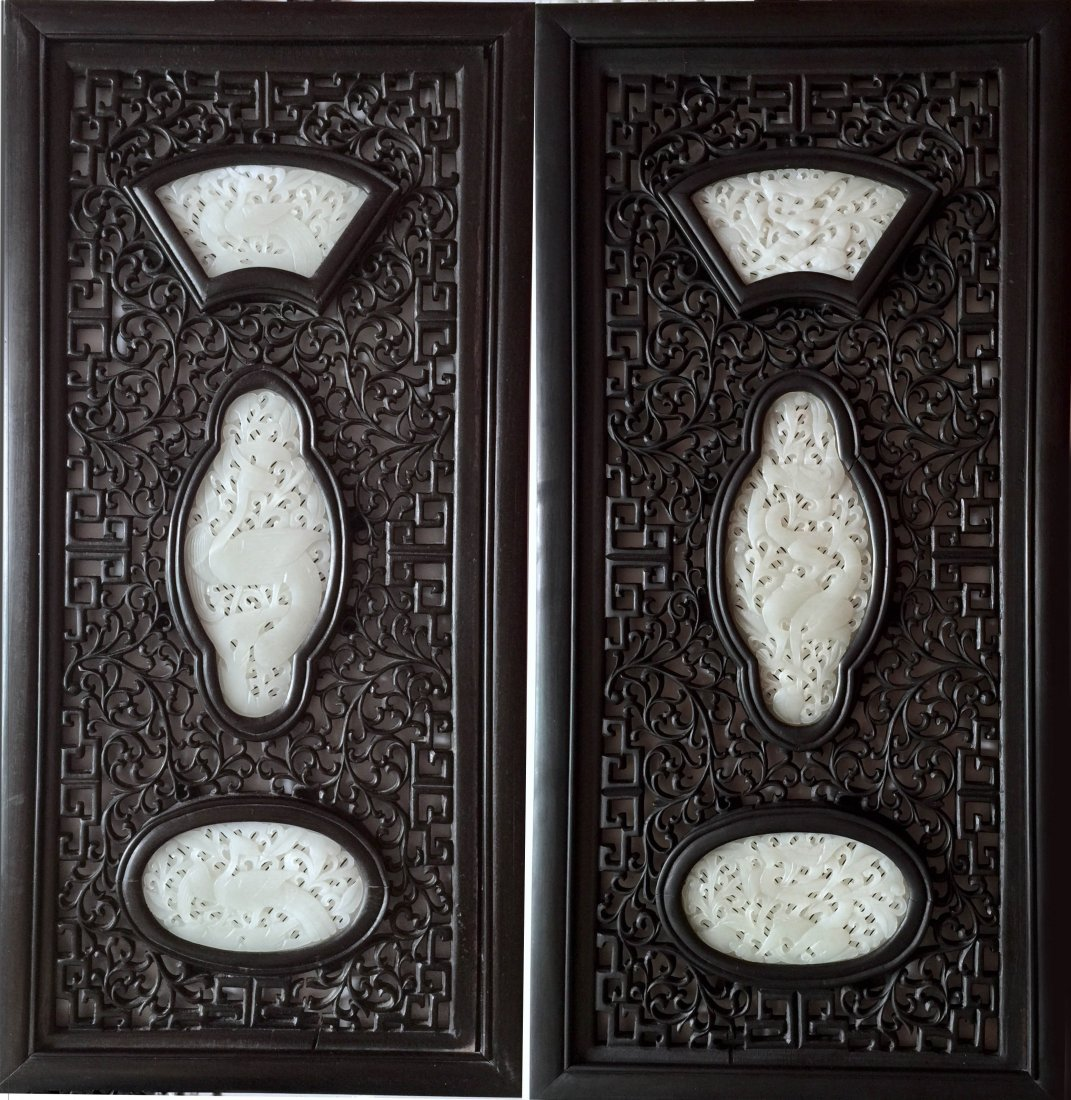 Pair of Chinese Zitan Wood and Jade Plaques