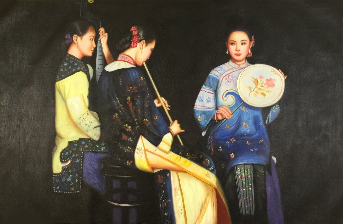 Chinese Oil Paiting on Canvas attributed Cheng