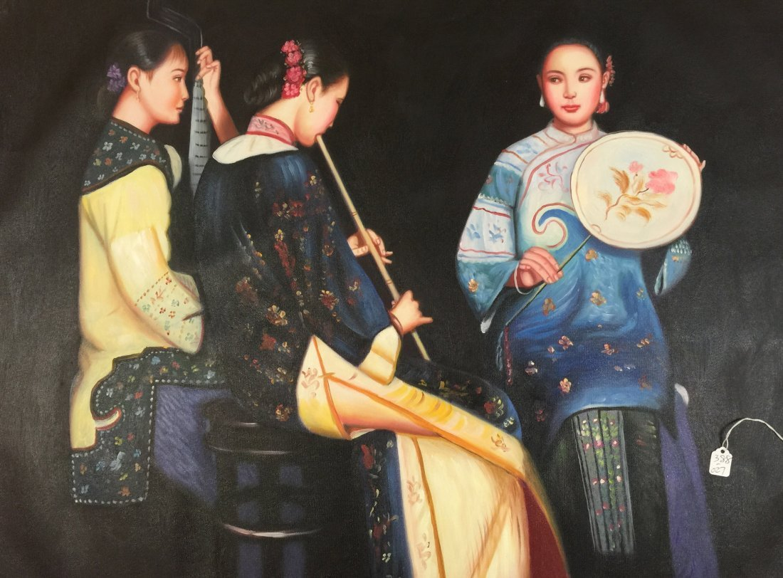 Chinese Oil Paiting on Canvas attributed Cheng - 2