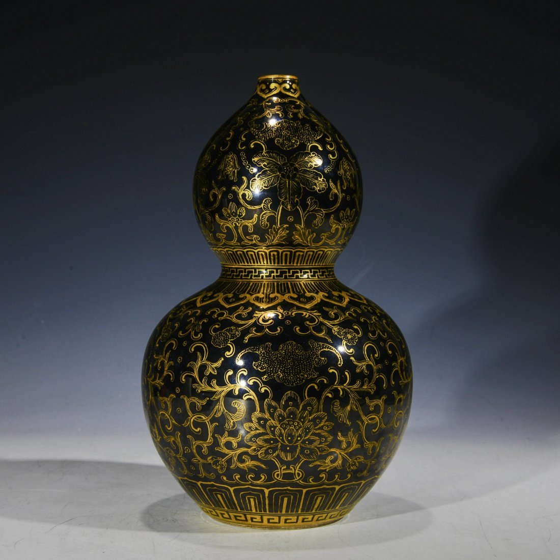 Chinese Blue Glazed Double Gourd Vase with Gilt Designs