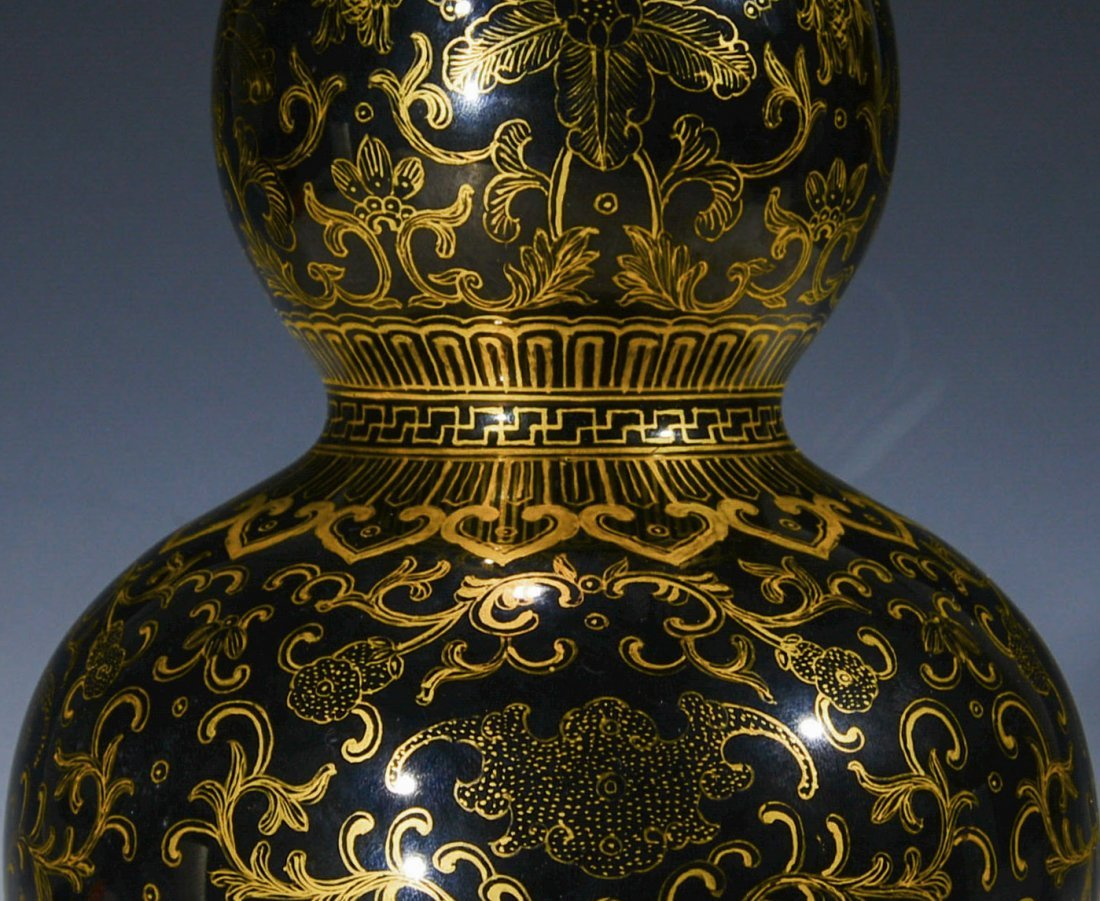 Chinese Blue Glazed Double Gourd Vase with Gilt Designs - 4