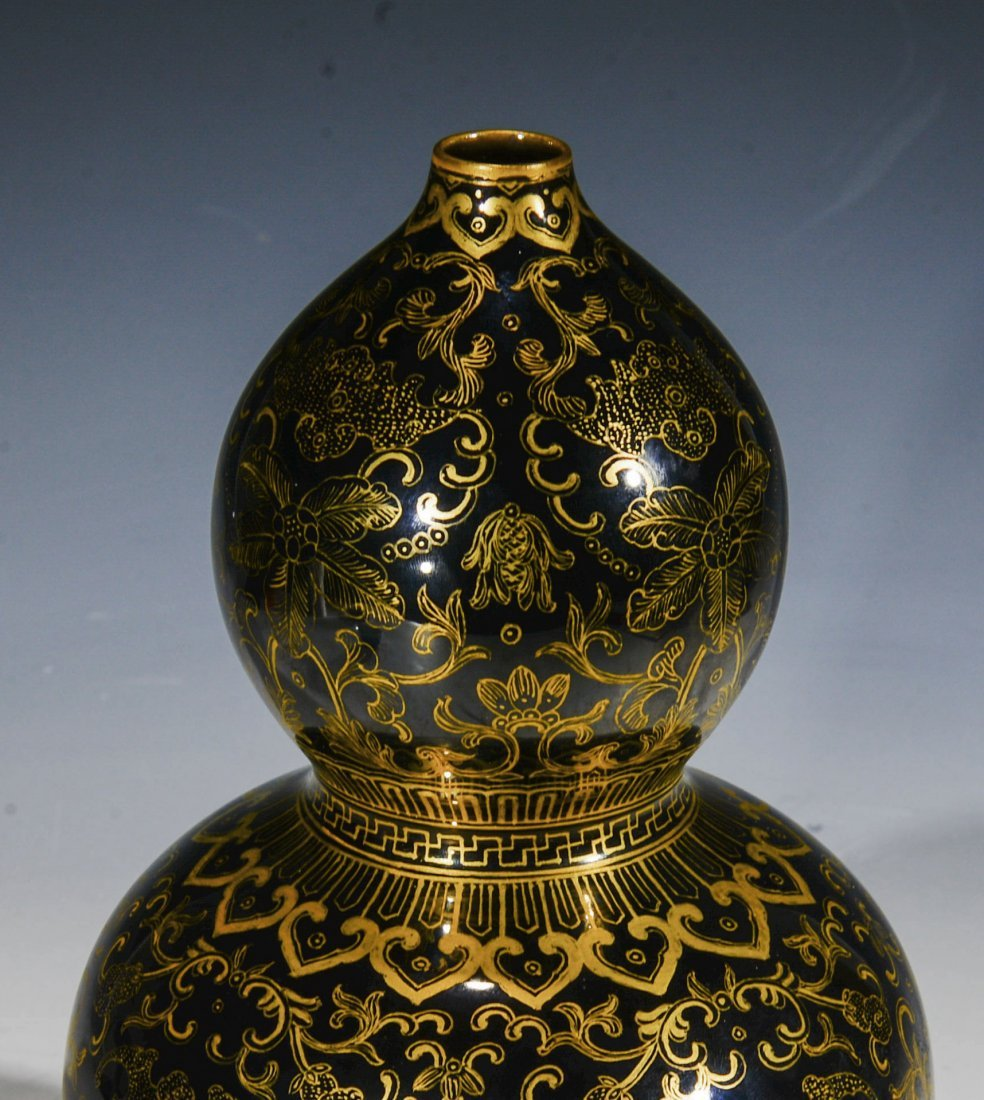 Chinese Blue Glazed Double Gourd Vase with Gilt Designs - 7