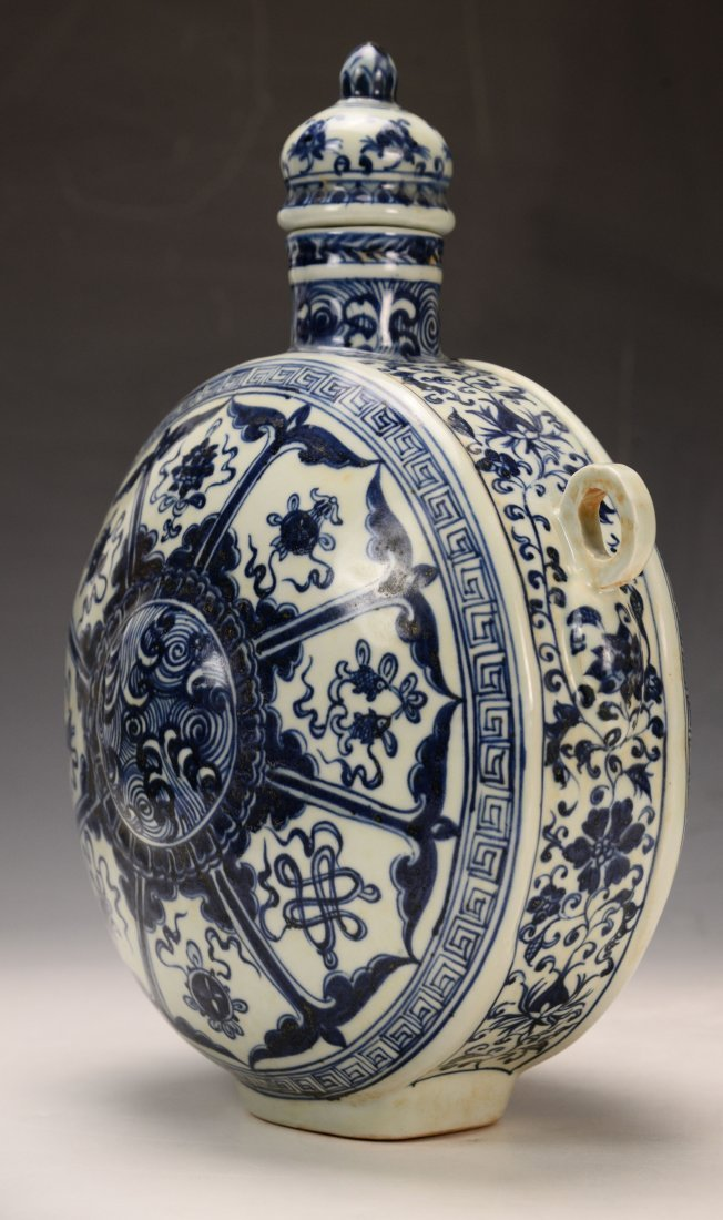 Chinese Blue and White Moon Flasks Vase - 6