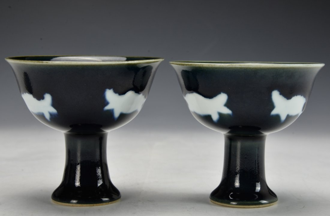A Pair of Chinese Antique High Stem Bowl - 2