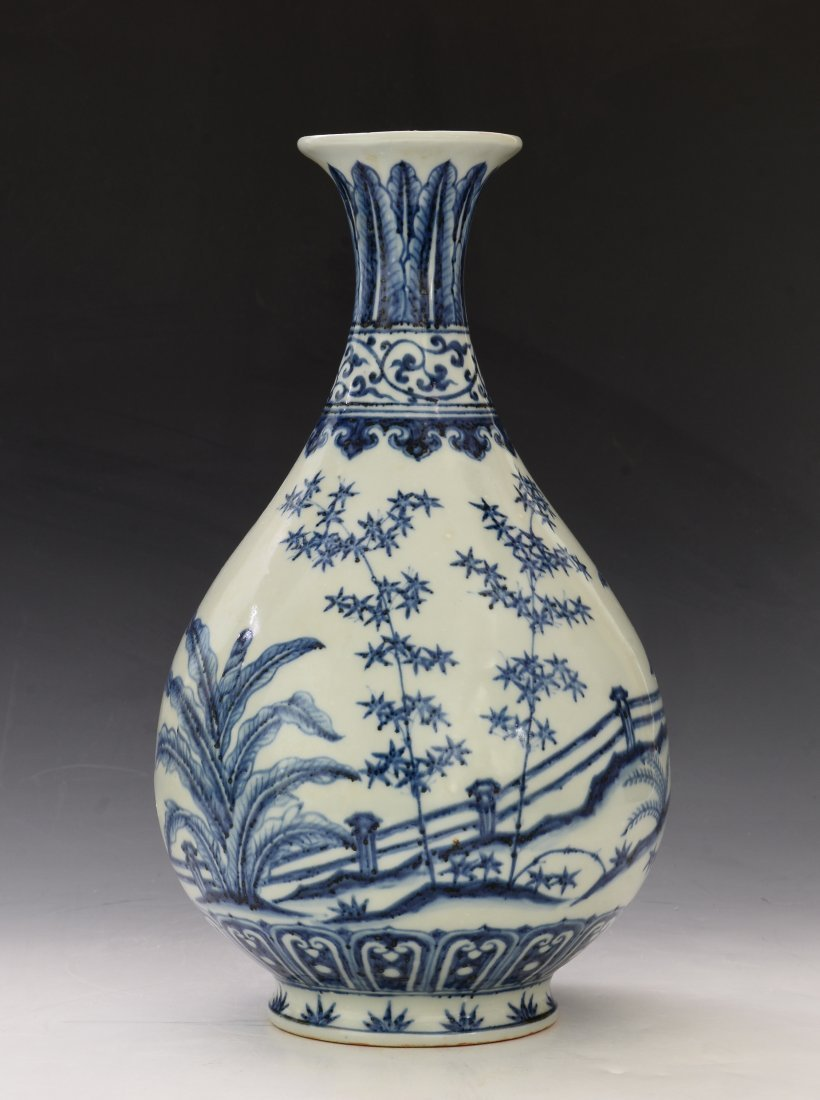 Chinese Blue and White Yu Hu Cun Vase - 2