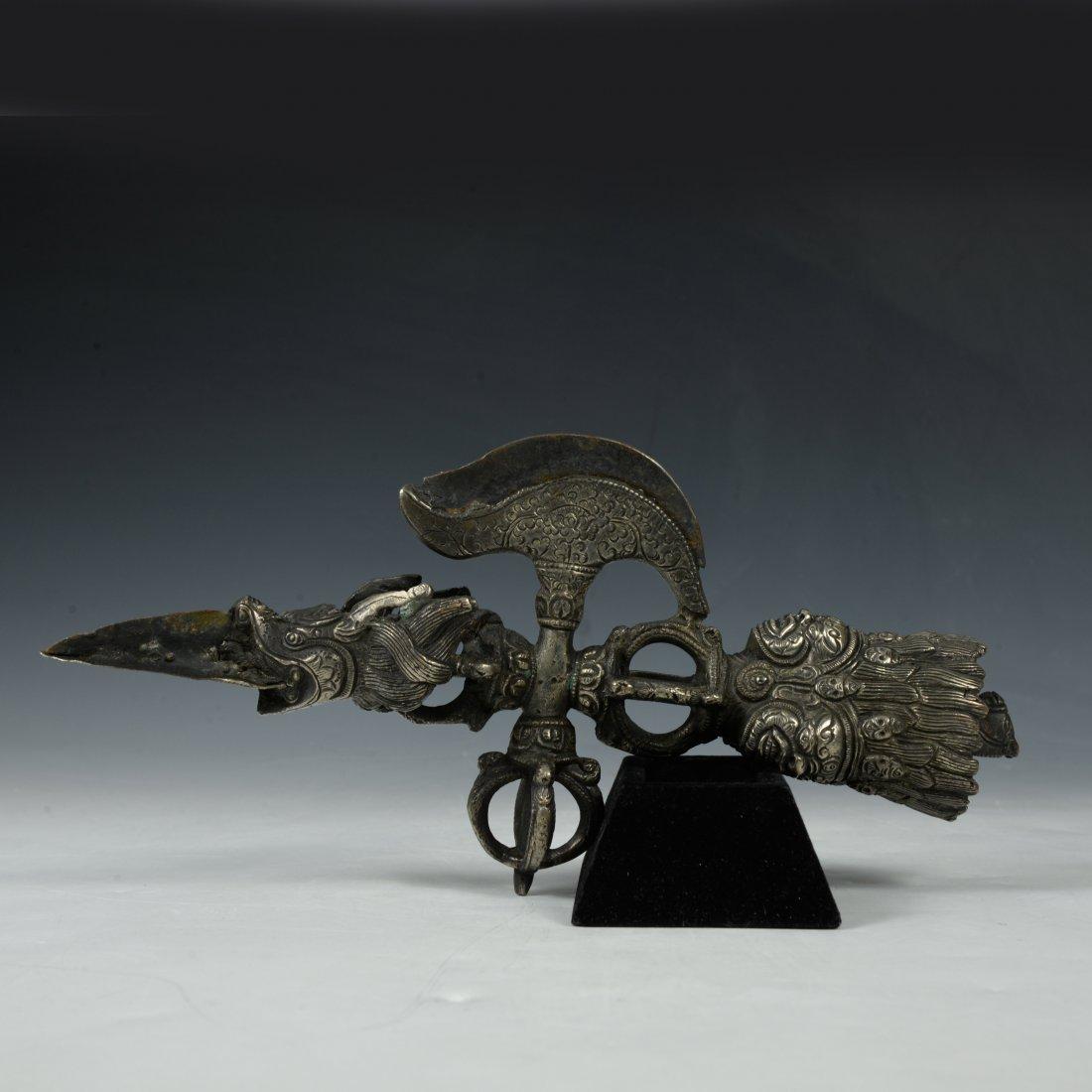 Large Tibetan Bronze Ritual Phurba Dagger