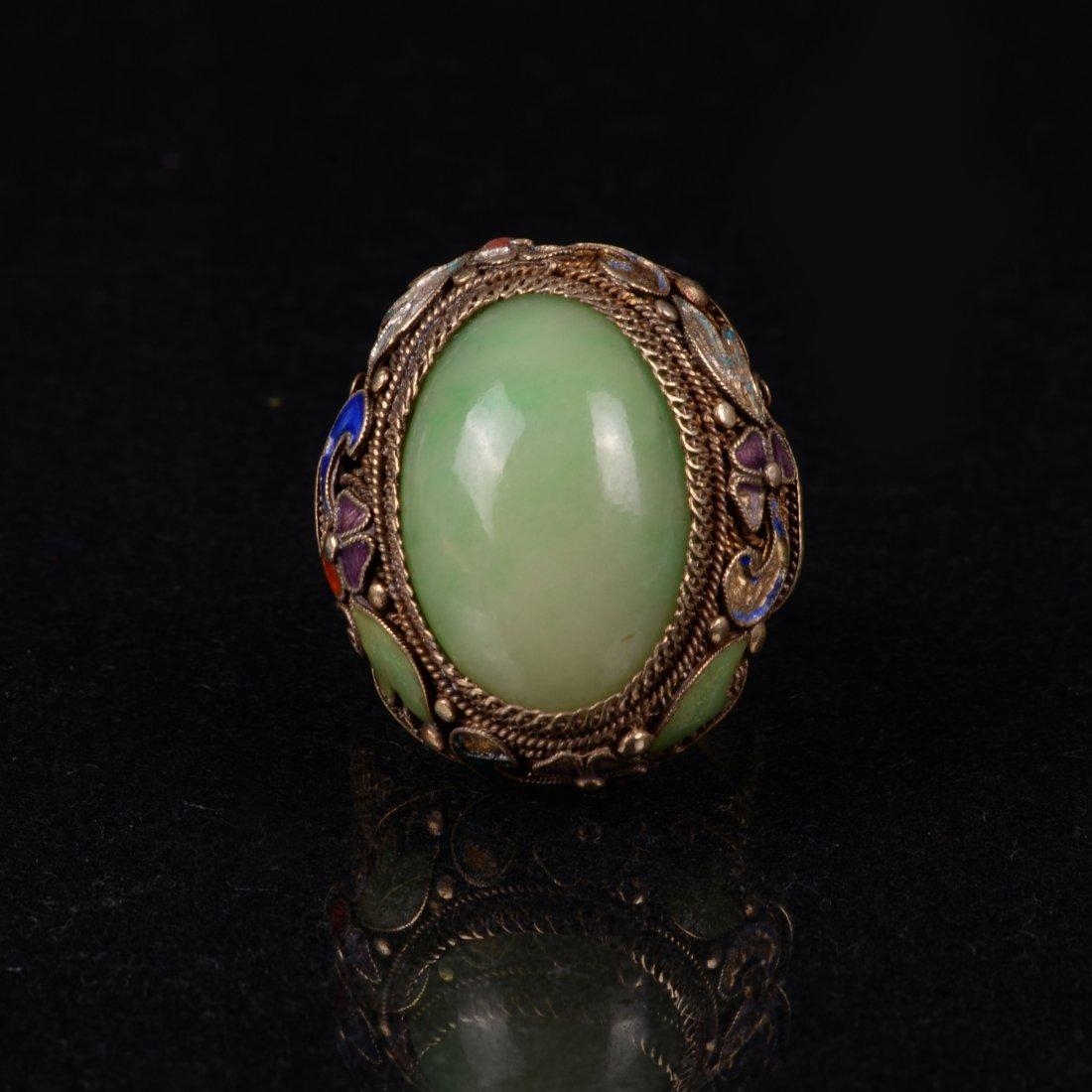 Chinese Antique Silver Jadeite Ring