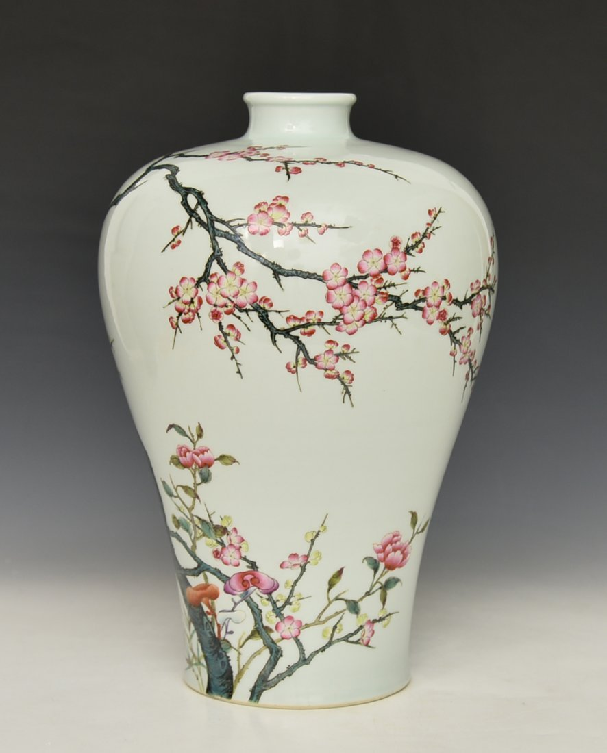 Chinese Famile Rose Mei Ping Vase - 2