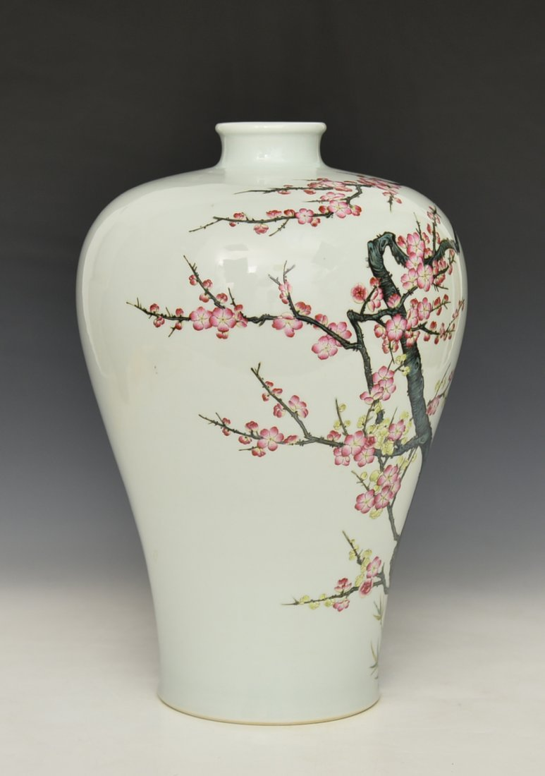 Chinese Famile Rose Mei Ping Vase - 4