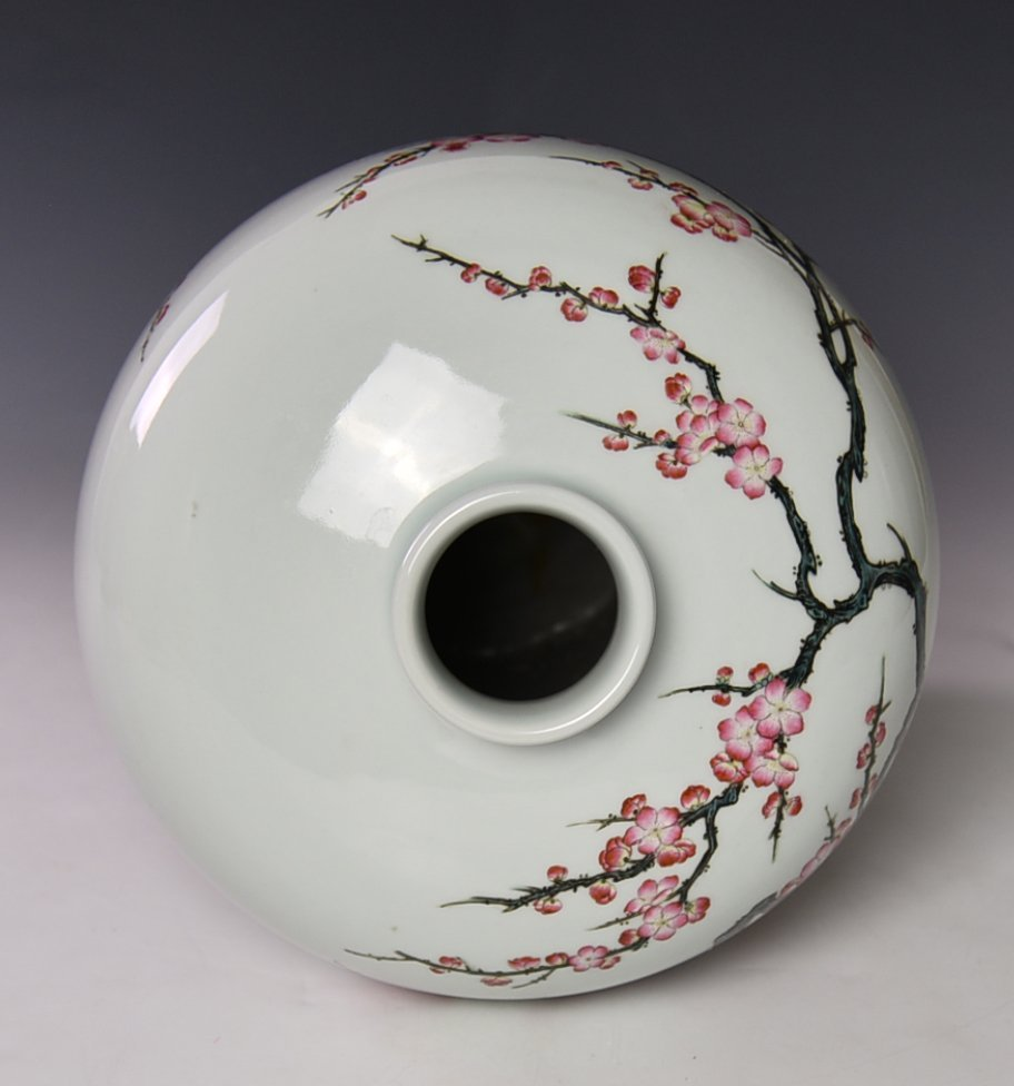Chinese Famile Rose Mei Ping Vase - 5