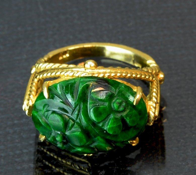 Chinese Antique Jadeite Ring 14k gold