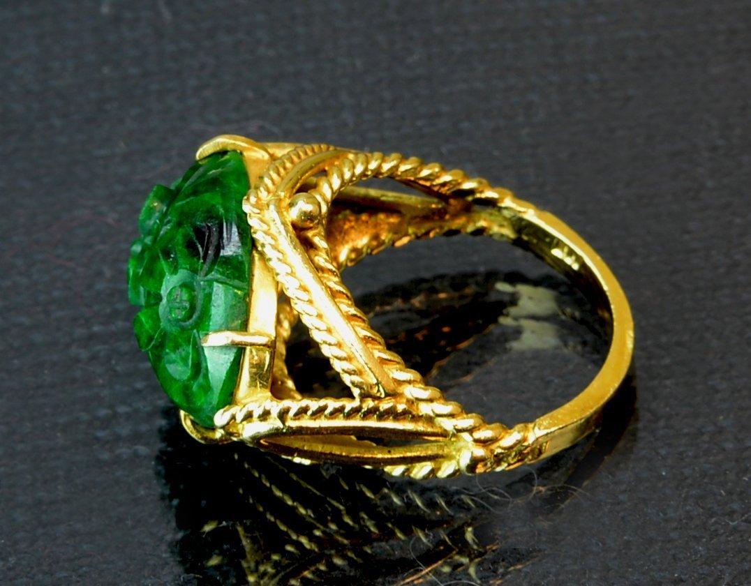 Chinese Antique Jadeite Ring 14k gold - 2