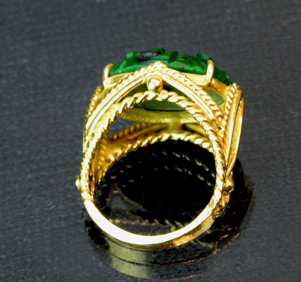 Chinese Antique Jadeite Ring 14k gold - 3