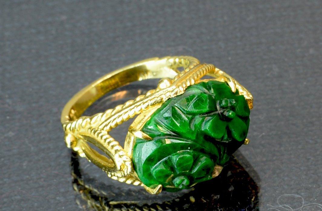 Chinese Antique Jadeite Ring 14k gold - 4