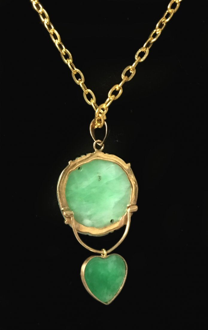 14K Chinese Jadeite Pendant with Chain - 2