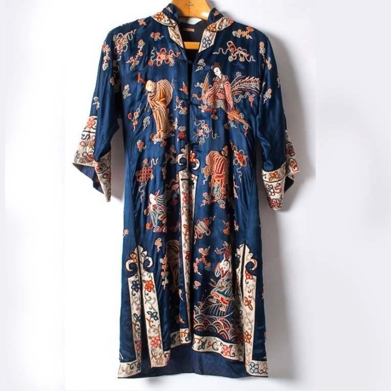 Chinese Embroidered Silk Satin Robe