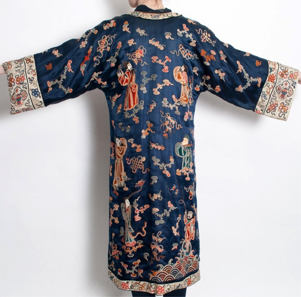 Chinese Embroidered Silk Satin Robe - 7