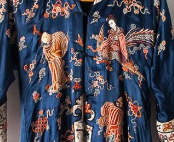 Chinese Embroidered Silk Satin Robe - 9