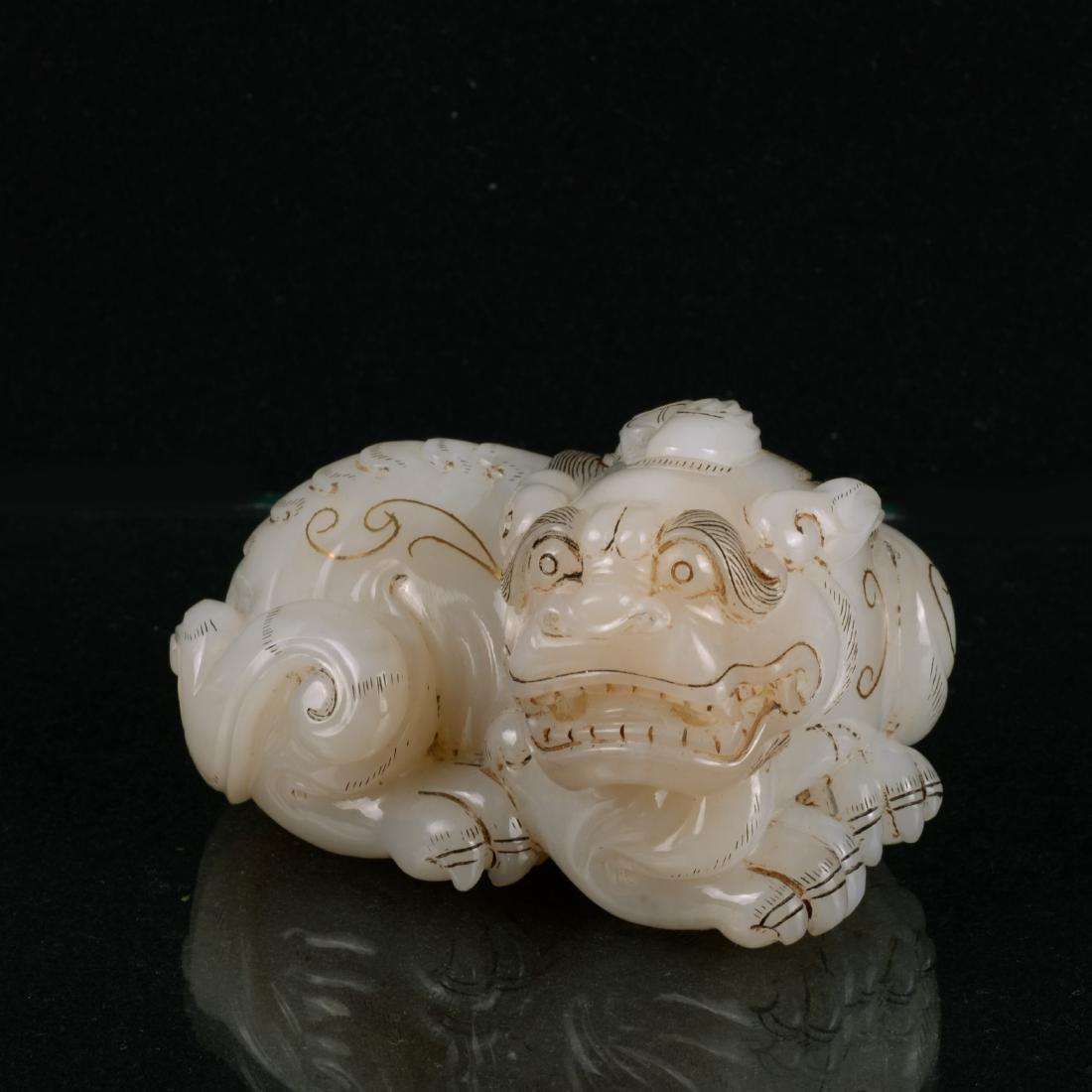 Chinese White Jade Carved QiLing
