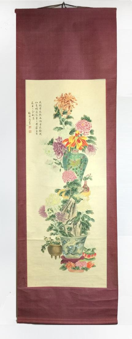 A Pair of Chinese Scroll Painting of Flower - 2