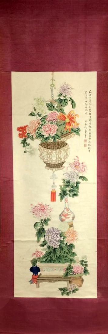 A Pair of Chinese Scroll Painting of Flower - 4