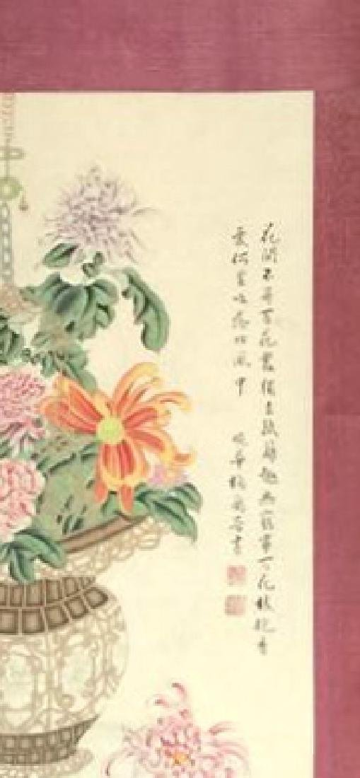 A Pair of Chinese Scroll Painting of Flower - 5