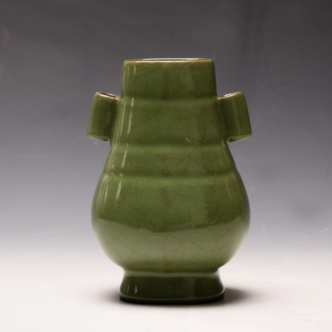 Chinese Plum Green Glazed Vase
