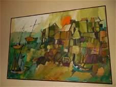 Vintage MCM Abstract painting F. Forlonge landscape art