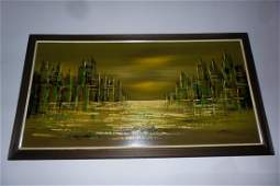 Mid century modern abstract cityscape painting by Tamir