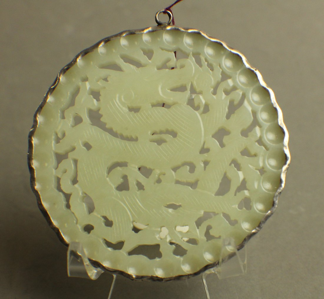 A White Jane Pendant Openwork Caeving with Dragons from