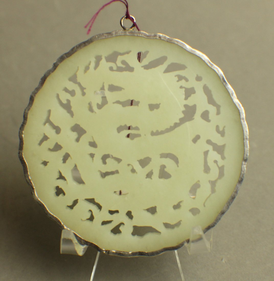 A White Jane Pendant Openwork Caeving with Dragons from - 3