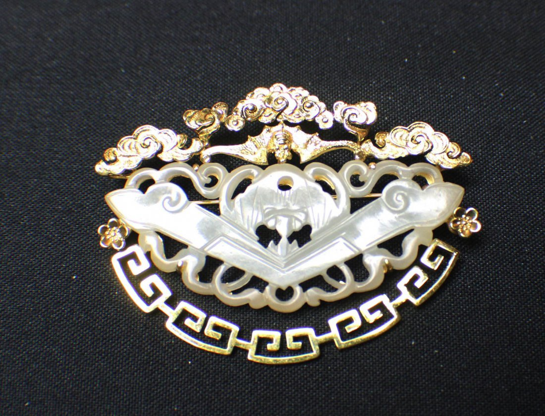 A He Tian Open-work White Jade Pin Set in Gold-frame