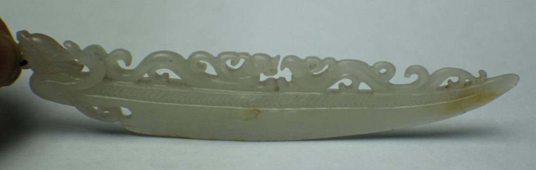 A HE TIAN WHITE JADE CARVED IN KNIFE WITH DRAGON