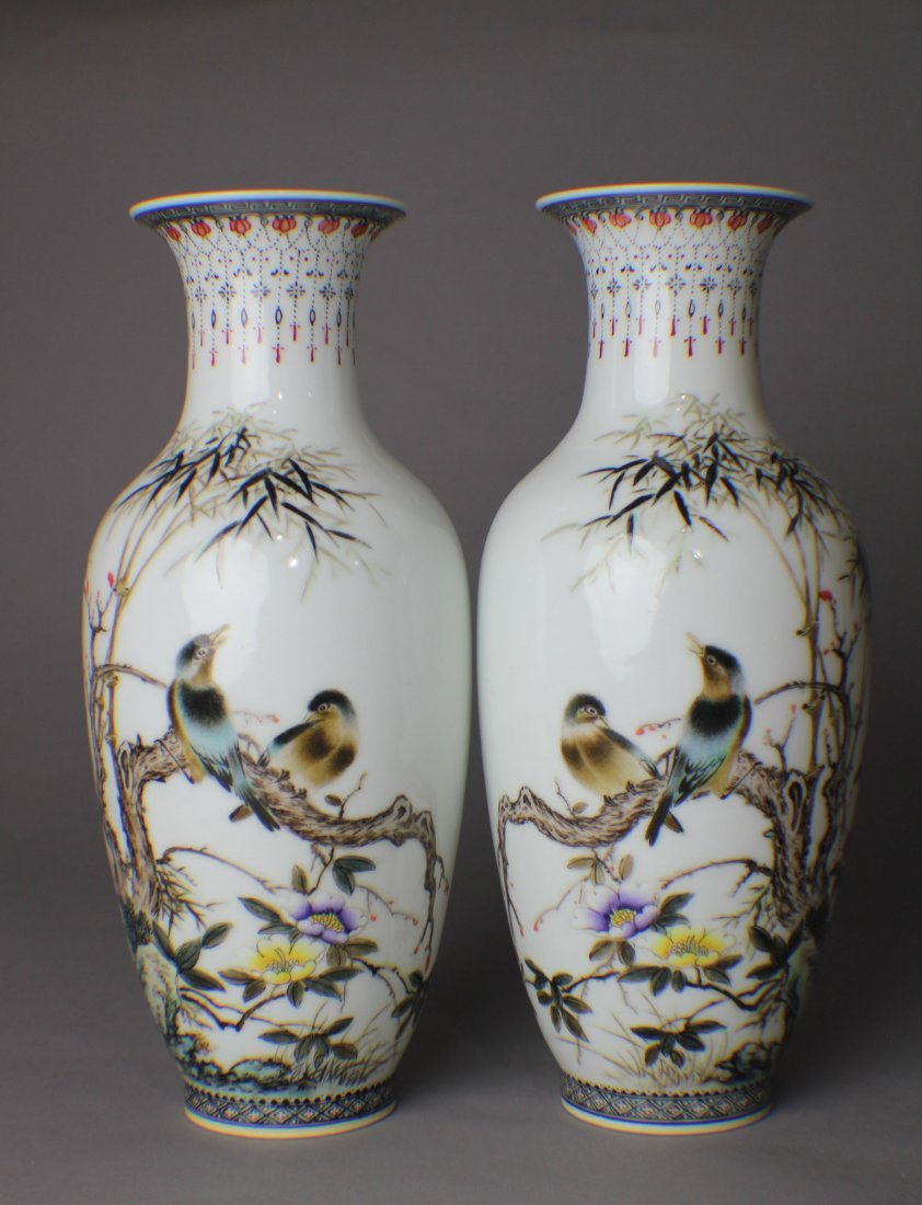A PAIR OF FAMILLE ROSE VASES IN THIN PORCELAIN, DRAWN