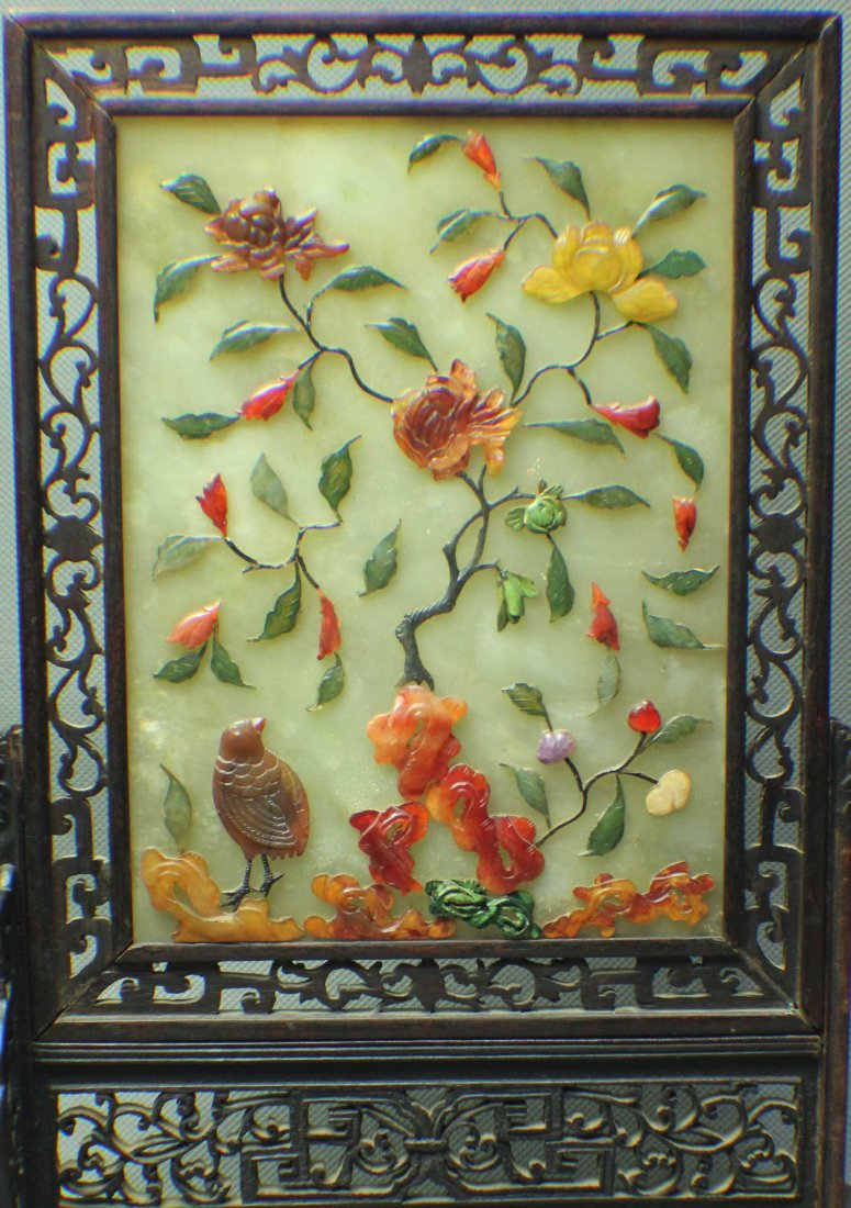 A JADE SCREEN WITH GEM DECORATION