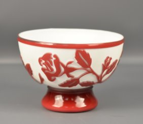 A Beijing Glass Bowl Carved With Flowers