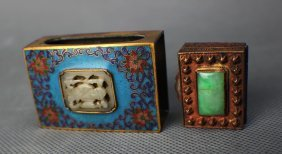 Two Boxes With Jade And Jadit Decorationdacoration