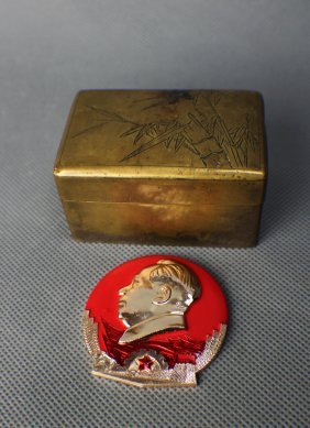 A Copper-nickel Inkbox Of Minguo, And Mao Zedong Badge
