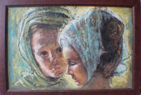An Oil Painting Of Two Girls