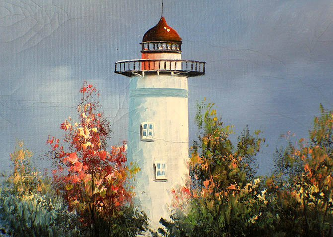 An Oil Painting of Lighthouse by W.Amion - 5