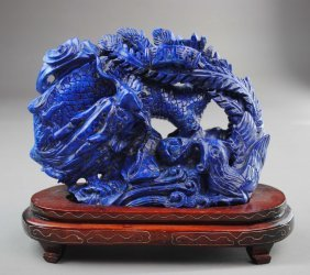 A Lapis Dragon Carving Decoration