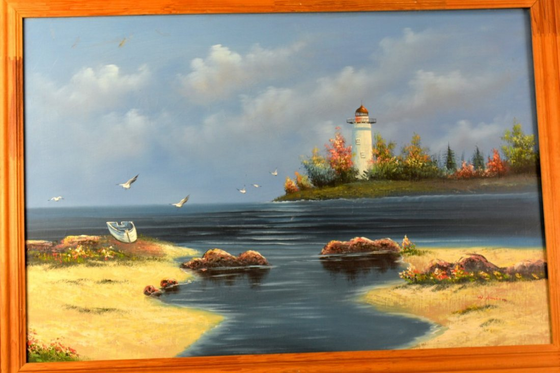 An Oil Painting of Lighthouse by W.Amion