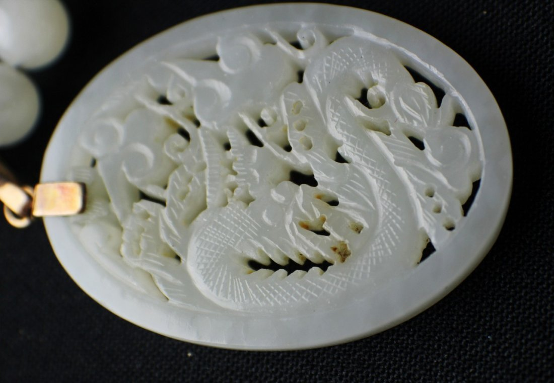 A Hetian White Suet Jade Necklace with a Pendant Carved - 5