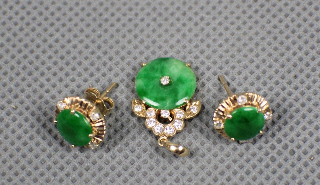 14K Gold diamond earrings and Pendant