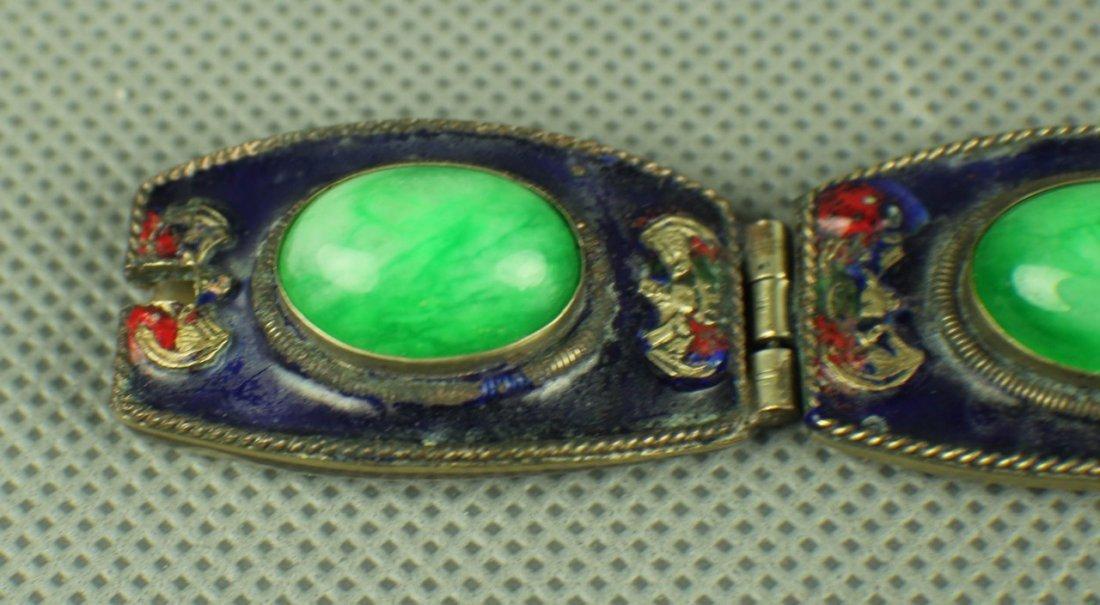 A Jadeite Silver Bracelet of Qing Dynasty, Five big - 2