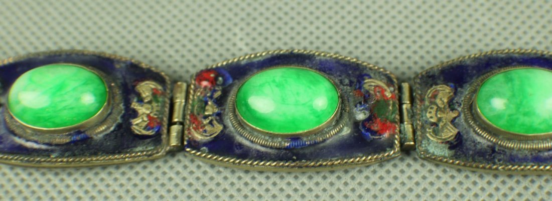 A Jadeite Silver Bracelet of Qing Dynasty, Five big - 3