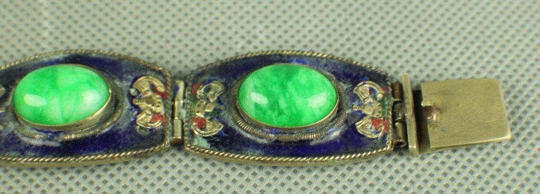 A Jadeite Silver Bracelet of Qing Dynasty, Five big - 5