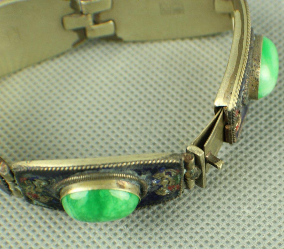 A Jadeite Silver Bracelet of Qing Dynasty, Five big - 6